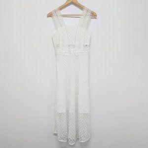 Sandro White Lacy Midi Dress